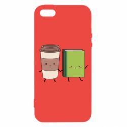 Купить Любителям кофе, Чехол для iPhone5/5S/SE Book & Coffee, FatLine