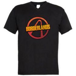 Мужская футболка  с V-образным вырезом Borderlands logotype