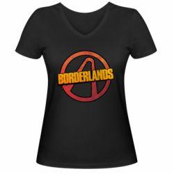 Женская футболка с V-образным вырезом Borderlands logotype