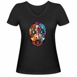 Женская футболка с V-образным вырезом Borderlands mask in paint