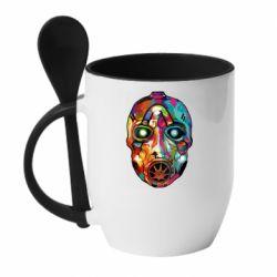 Кружка с керамической ложкой Borderlands mask in paint