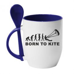 Кружка с керамической ложкой Born to kite