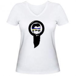 Женская футболка с V-образным вырезом Борода патріота