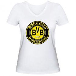 Женская футболка с V-образным вырезом Borussia Dortmund - FatLine