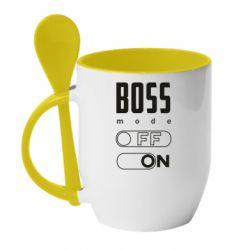 Кружка з керамічною ложкою Boss mode