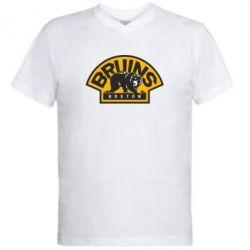 Мужская футболка  с V-образным вырезом Boston Bruins - FatLine