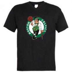 Мужская футболка  с V-образным вырезом Boston Celtics - FatLine