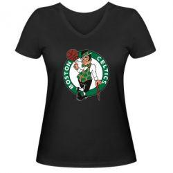 Женская футболка с V-образным вырезом Boston Celtics - FatLine