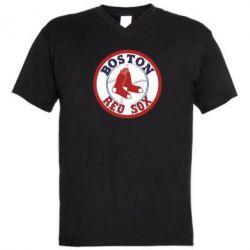 Мужская футболка  с V-образным вырезом Boston Red Sox - FatLine