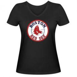 Женская футболка с V-образным вырезом Boston Red Sox - FatLine