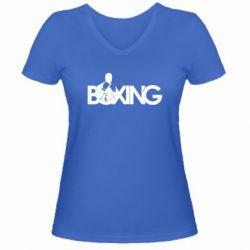 Женская футболка с V-образным вырезом Boxing Art - FatLine