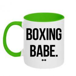 Кружка двухцветная Boxing babe
