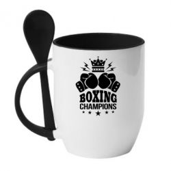 Купить Кружка с керамической ложкой Boxing champions, FatLine