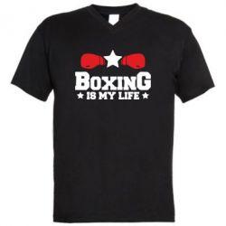 Мужская футболка  с V-образным вырезом Boxing is my life