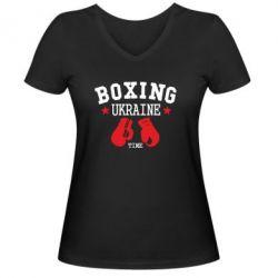 Женская футболка с V-образным вырезом Boxing Ukraine - FatLine