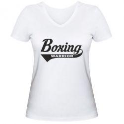 Женская футболка с V-образным вырезом Boxing Warrior