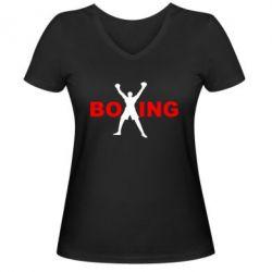 Женская футболка с V-образным вырезом BoXing X - FatLine