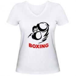 Женская футболка с V-образным вырезом Boxing - FatLine