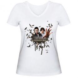Женская футболка с V-образным вырезом Братья - FatLine