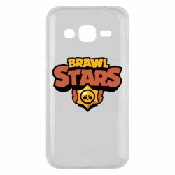 Чехол для Samsung J2 2015 Brawl Stars logo orang and yellow