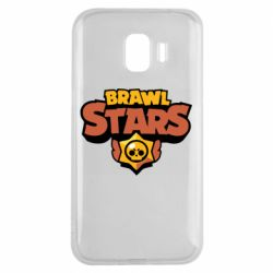 Чехол для Samsung J2 2018 Brawl Stars logo orang and yellow