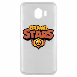 Чехол для Samsung J4 Brawl Stars logo orang and yellow