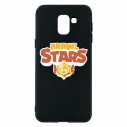 Чехол для Samsung J6 Brawl Stars logo orang and yellow
