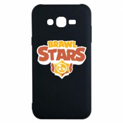 Чехол для Samsung J7 2015 Brawl Stars logo orang and yellow