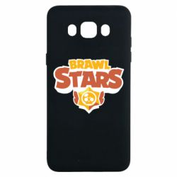 Чехол для Samsung J7 2016 Brawl Stars logo orang and yellow