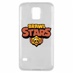 Чехол для Samsung S5 Brawl Stars logo orang and yellow