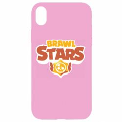 Чехол для iPhone XR Brawl Stars logo orang and yellow