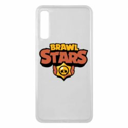Чехол для Samsung A7 2018 Brawl Stars logo orang and yellow