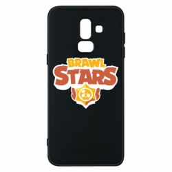 Чехол для Samsung J8 2018 Brawl Stars logo orang and yellow