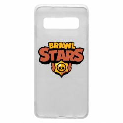 Чехол для Samsung S10 Brawl Stars logo orang and yellow