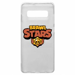 Чехол для Samsung S10+ Brawl Stars logo orang and yellow