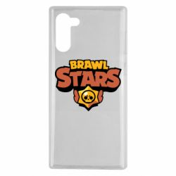 Чехол для Samsung Note 10 Brawl Stars logo orang and yellow