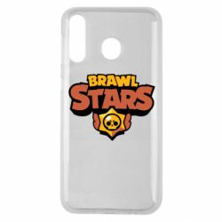 Чехол для Samsung M30 Brawl Stars logo orang and yellow
