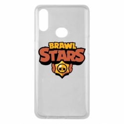 Чехол для Samsung A10s Brawl Stars logo orang and yellow