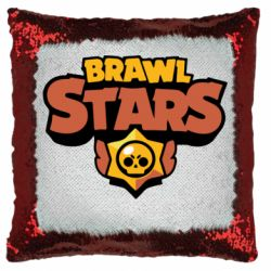 Подушка-хамелеон Brawl Stars logo orang and yellow