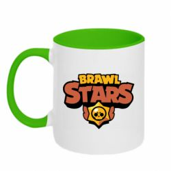 Кружка двухцветная 320ml Brawl Stars logo orang and yellow