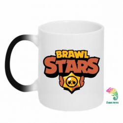Кружка-хамелеон Brawl Stars logo orang and yellow