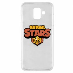 Чехол для Samsung A6 2018 Brawl Stars logo orang and yellow