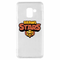 Чехол для Samsung A8 2018 Brawl Stars logo orang and yellow