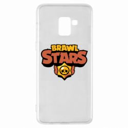Чехол для Samsung A8+ 2018 Brawl Stars logo orang and yellow