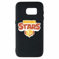 Чехол для Samsung S7 Brawl Stars logo orang and yellow