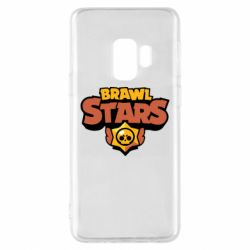 Чехол для Samsung S9 Brawl Stars logo orang and yellow