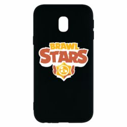 Чехол для Samsung J3 2017 Brawl Stars logo orang and yellow