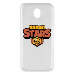 Чехол для Samsung J5 2017 Brawl Stars logo orang and yellow