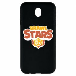 Чехол для Samsung J7 2017 Brawl Stars logo orang and yellow