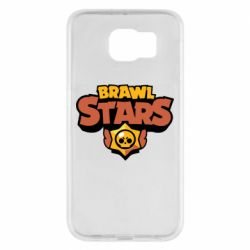 Чехол для Samsung S6 Brawl Stars logo orang and yellow